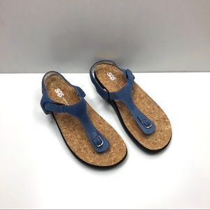 SAS Marina blue leather t-strap sandal 10
